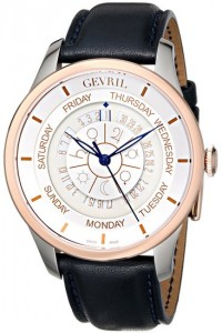 Gevril Men's 2003 Columbus Circle Stainless Steel and Gold-Plated Automatic Watch with Blue Leather Band