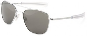Randolph Aviator AF53634 Polarized Square Sunglasses,Bright Chrome,55 mm