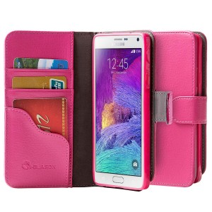 Galaxy Note 4 Case, i-Blason Slim Leather Wallet Book Cover with Stand Feature and Credit Card ID Holders For Samsung Galaxy Note 4
