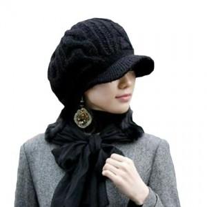 LOCOMO Men Women Boy Girl Slouchy Cabled Knit Beanie Newsboy Cap FAF026