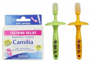 8. Gummy Stick Massagers with Boiron Camilia Teething Relief