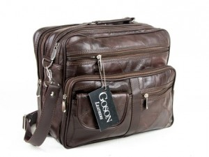 Goson Genuine Patchwork Leather Business Laptop Briefcase