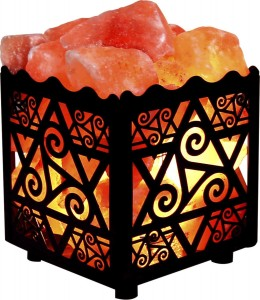 Crystal Decor® Natural Himalayan Salt Lamp in Star Design Metal Basket with Dimmable Cord