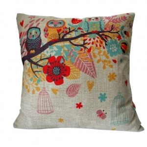HOSL Cotton Linen Square Decorative Throw Pillow Case Cushion Cover Owls with Birdcage 18 X18