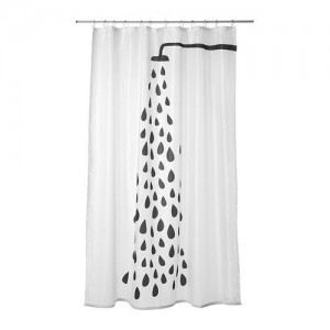 Ikea Tvingen Shower Curtain, WhiteBlack