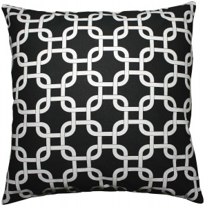 JinStyles® Cotton Canvas Trellis Chain Accent Decorative Throw Pillow Cover (Black & White, Square, 1 Sham for 16 x 16 Inserts)