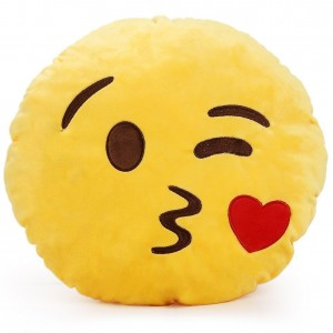 Just Model 1 X Round Oi Emoji Smiley Emoticon Cushion Pillow Stuffed Plush Toy Doll Yellow(sweet Kiss+free Kiss Key Chain) Throwing kiss, 32c