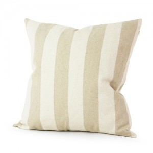 Lavievert Decorative Ramie Cotton Square Throw Pillow Cover Cushion Case Handmade Taupe and Khaki Stripe Toss Pillowcase with Hidden Zipper Cl