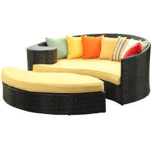 LexMod Taiji Outdoor Wicker Patio Daybed with Ottoman in Brown with Orange Cushions