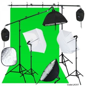 Linco Photography Studio Lighting Backdrop Photography Background Muslin 2 Set Boom Stand Photo Light Kit With 7 Feet Reflector Arm Boom Arm