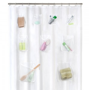 Maytex Mesh Pockets PEVA Shower Curtain Clear, 70 x 72 inches