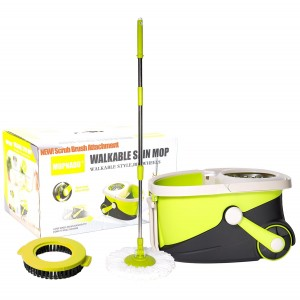 Mopnado Deluxe Spin Mop - Microfiber Mop with Bucket for Hardwood Floor and Dust - Walkable -Lime