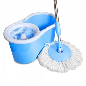 Ohuhu® Spin Mop & Bucket System, Deluxe 360 Degree Spin Self-wringing Mop & Spin Dry Bucket with 2 Mop Heads - No Foot Pedal Needed