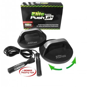 Rotational Push Up Bar with BONUS Skipping Rope - #1 Rated Pushup Stand on Amazon - Easy on the Wrists Making Pushups Easier Whilst Still Getting the Res