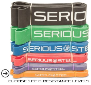 Serious Steel Assisted Pull-Up Band, Resistance & Stretch Band Powerlifting Bands Pull-up and Band Starter e-Guide INCLUDED (Single unit) 41-inch