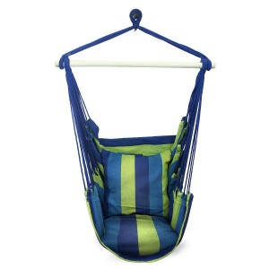 Sorbus® Blue Hanging Rope Hammock Chair Swing Seat for Any Indoor or Outdoor Spaces- Max. 265 Lbs -2 Seat Cushions Included