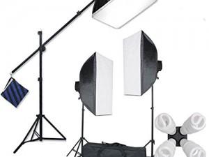 StudioFX H9004SB2 2400 Watt Large Photography Softbox Continuous Photo Lighting Kit 16 x 24 + Boom Arm Hairlight with Sandbag H9004SB2