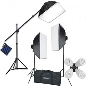 StudioFX H9004SB2 2400 Watt Large Photography Softbox Continuous Photo Lighting Kit 16 x 24 + Boom Arm Hairlight with Sandbag H9004SB2