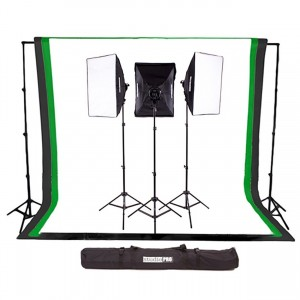 StudioPRO 3000W Complete Photography Photo Video Studio Triple Light Softbox Continuous Lighting Kit with 6ft x 9ft Black, White, and Green M