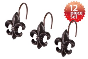 Stylish Decorative Fleur De Lis Hand Crafted Ceramic Bronze Metal Shower Hook Curtain 12 piece set