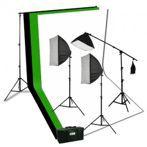 ePhoto Photography Video Studio Portrait Softbox Continuous Photo Video Lighting Kit with Three Softbox,background stand, 10 x 10 Black White