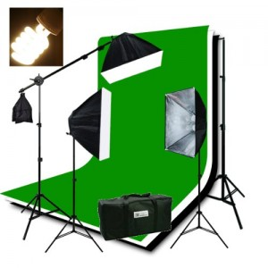 ePhotoInc Photography Studio Video Lighting Chromakey Screen 3 Muslin Backdrops 3200K Warm Lighting Kit Background Support Kit-GreenBlackWhit