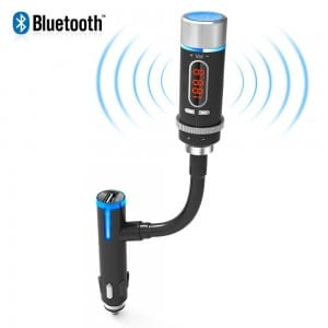 AKASO Wireless Bluetooth FM Transmitter Radio Adapter Handsfree Car Kit with Hands-Free Calling, Music Control, USB Charger