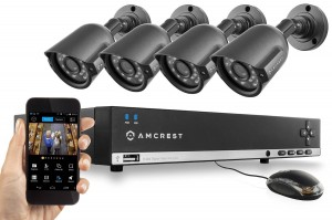 Amcrest 960H Video Security System - Four 800+ TVL Weatherproof Cameras, 65ft IR LED Night Vision, 960H DVR, Long Distance Transmit Range (984ft)