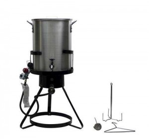Chard Heavy Duty 50,000 BTU Outdoor Propane 30 Quart Deep Turkey Fryer with Pot