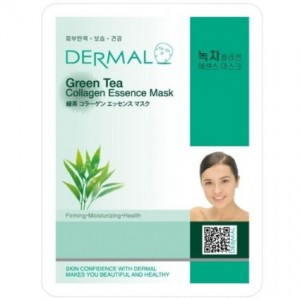 Dermal Korea Collagen Essence Facial Mask Sheet - Green Tea (10 Pack)