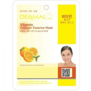 Dermal Korea Collagen Essence Full Face Facial Mask Sheet - Vitamin pack of 10