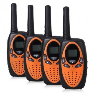 FLOUREON 22 Channel FRSGMRS 2 Way Radio 2 miles (up to 3 Miles) UHF Handheld Walkie Talkie (Pack of 4, Flame Orange)