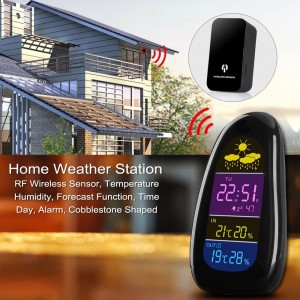 Home Weather Station - RF Wireless Sensor, Temperature, Humidity, Forecast Function, Time, Day, Alarm, Cobblestone Shaped