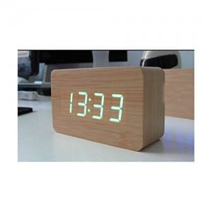 KABB Light Brown Wood Grain Green LED Light Alarm Clock - Time Temperature - Sound Control - Latest Generation(USB3xAAA)