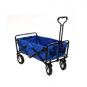 Mac Sports Collapsible Folding Utility Wagon Garden Cart Shopping Beach Blue