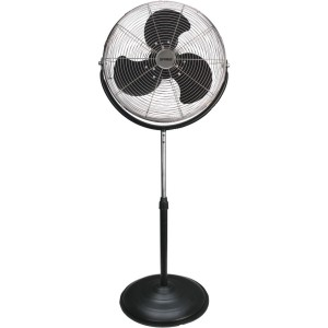 Optimus F-4184 18-Inch Industrial Grade High Velocity Stand Fan, Black with Chrome Grill