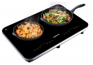 Ovente BG62B Double Portable Ceramic Induction Cooktop, Black