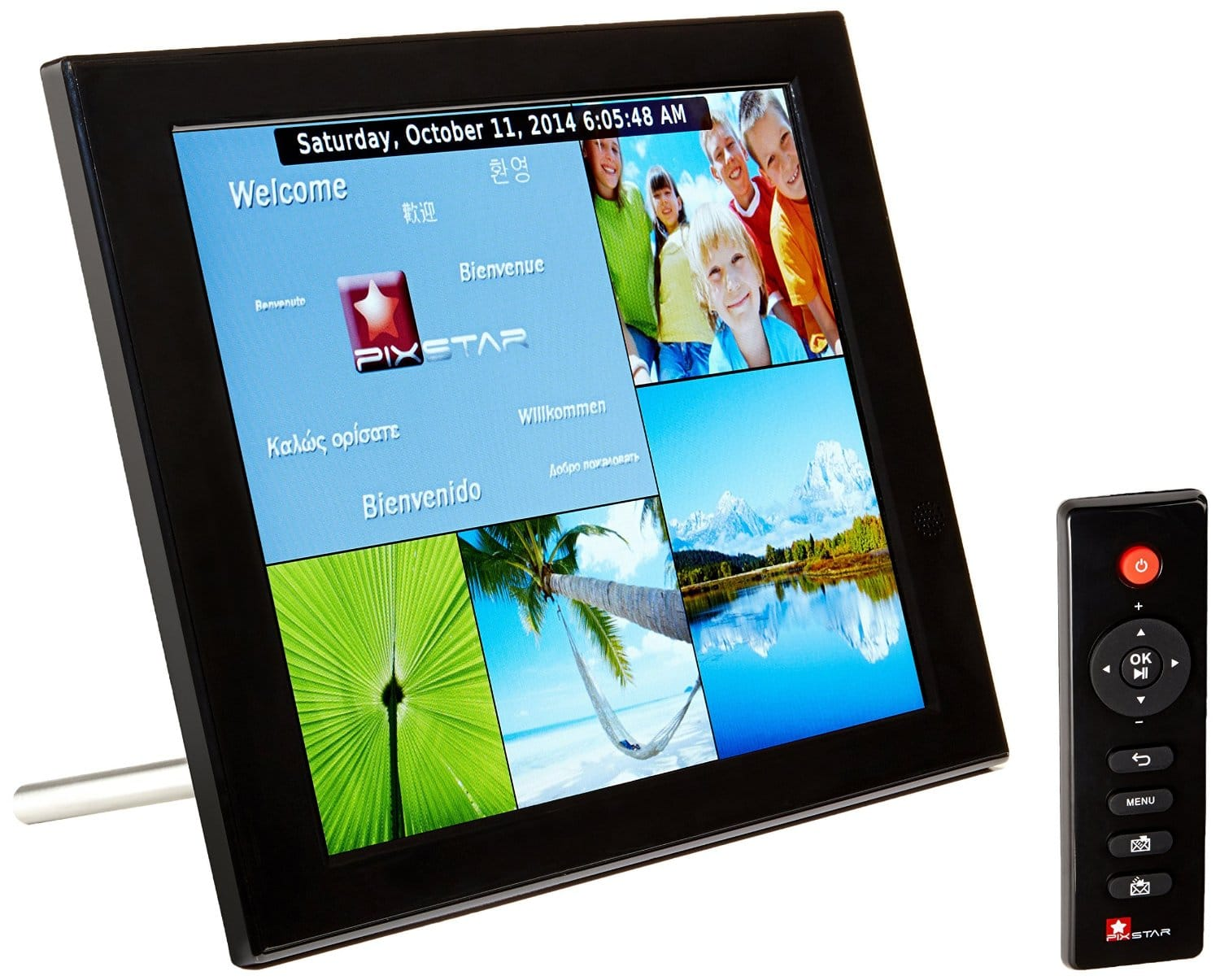 pix star 104 inch wi fi cloud digital photo frame fotoconnect xd with email online providers iphone android app dlna and more black top portal