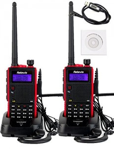 Retevis RT5 2 Way Radio 5W Dual Band VHF UHF 136-174400-520 MHz 128 Channel Scan VOX FM Radio Flashlight Walkie Talkies Ham Radio Transceiver (2 Pack) and P