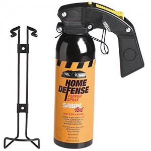 SABRE Red Pepper Spray - Police Strength - Family, Home & Property Defense Fogger with Wall Mount Bracket & 25 Foot Straight