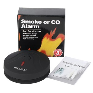 Smoke Detector, PECHAM 2599 Battery Powered Fire Alarm Smoke Detector with Photoelectric Sensor (Black)
