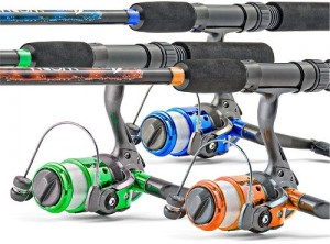 South Bend Worm Gear Spinning Fishing Combo - Green, Blue or Orange