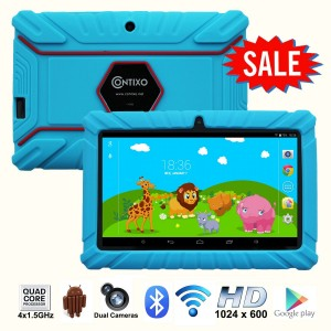 Thanksgiving Day Special Contixo Kids Safe 7 Quad-Core Tablet 8GB, Bluetooth, Wi-Fi, Cameras, 20+ Free Games, HD Edition w Kids-Place Parental Control