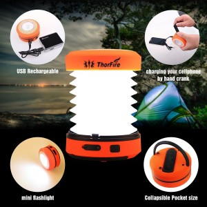 ThorFire Camping LED Lantern USB Rechargeable Mini Flashlight Torch Light Lamp Collapsible Hand Crank Hiking Jogging Charge Your Cellphone for Emergen