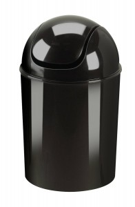 Umbra 086701-040 Waste Can, High Gloss Swing Lid, 1-12 gallon, Black