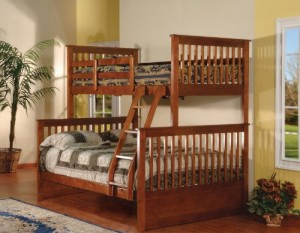 Walnut Finish Wood Twin Over Full Size Convertible Bunk Bed