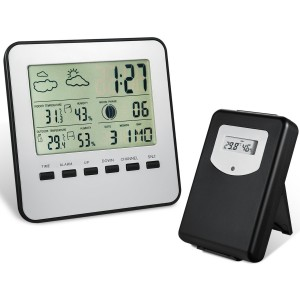 Wireless Weather Station, Amir® IndoorOutdoor Wireless Digital Home Weather Forecaster Station with Thermometer, Humidity, Weather Forecast,
