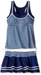 Women's Tankini Striped Trapeze Swim Dress