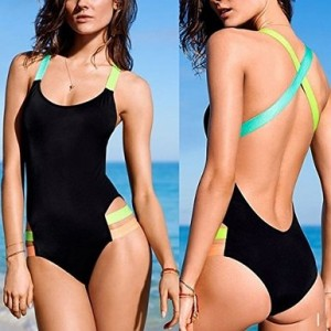 Yonala Color Halter Neck One Piece Monokinis Swimsuit Bathing Suit