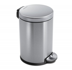 simplehuman Mini Round Step Trash Can, Stainless Steel, 4.5 L 1.2 Gal